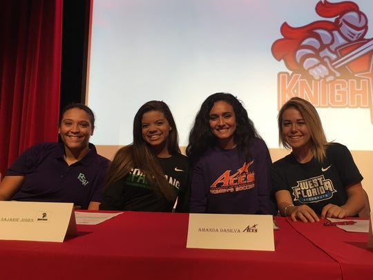 North Fort Myers High softball players, from left,