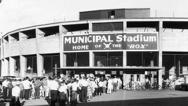 Fans arrive for a game at Municipal Stadium in 1960.