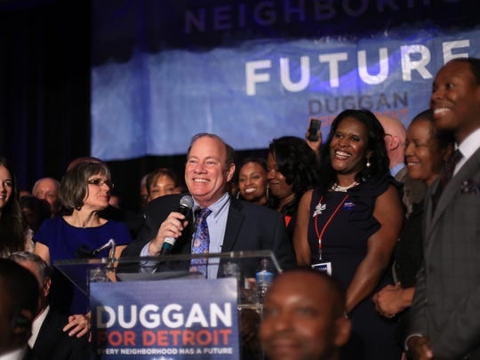Detroit mayoral candidate Mike Duggan speaks to a crowd of supporters after being named the new mayor of the city of Detroit over Benny Napolean on Tuesday November 5, 2013 at the Marriott Hotel in the Renaissance Center in downtown Detroit.