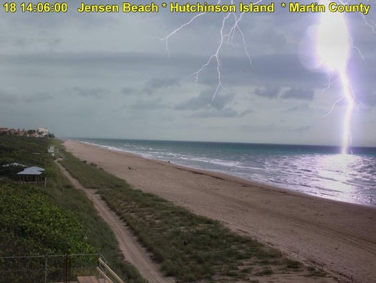 The Jensen Beach beach cam caught this image of lightning