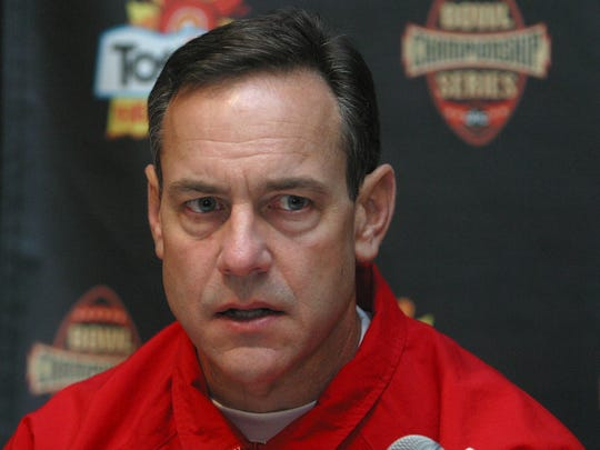 Ohio State defensive coordinator Mark Dantonio attends a news conference at the Camelback Inn in Paradise Valley, Ariz. on Dec. 28, 2003, as the team prepares for the 2004 Fiesta Bowl game against Kansas State.