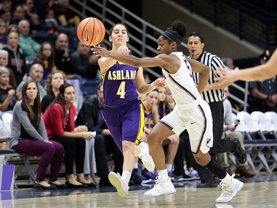 Former Crestview star Renee Stimpert of Ashland University passes through the arms of University of Connecticut's Crystal Dangerfield.