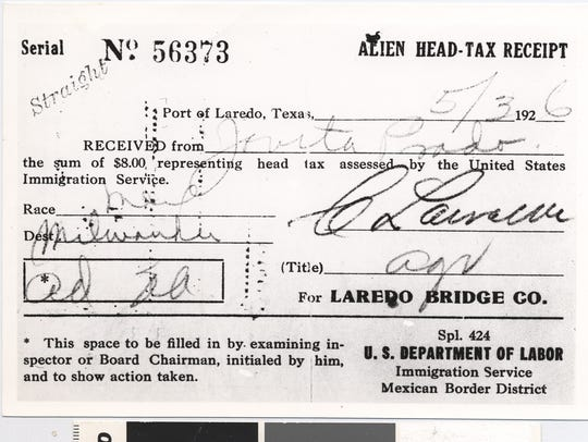 Alien head-tax receipt paid by a Mexican immigrant
