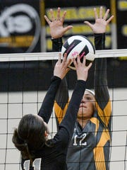 Crescent senior Jennifer Hunter (12) blocks a tip by Palmetto junior Ally Waters(11) during the third set of the Class AAA playoff at Crescent High School in Iva on Monday. Crescent beat Palmetto 25-20, 25-15, 25-10.