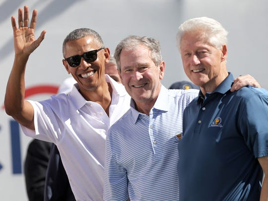 Former presidents, Barack Obama, George W. Bush and Bill Clinton are shown in Jersey City before the start of the Presidents Cup, Thursday, September 28, 2017.