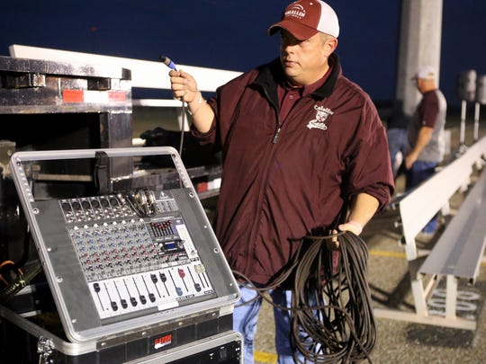 Calallen Booster Cub Vice President Steven Floyd prepares an audio board for a community pep rally Wednesday, Dec. 14, 2016, at Calallen High School in Corpus Christi. Calallen will be playing Aledo High School for the Class 5A Division II State Championship on Friday.