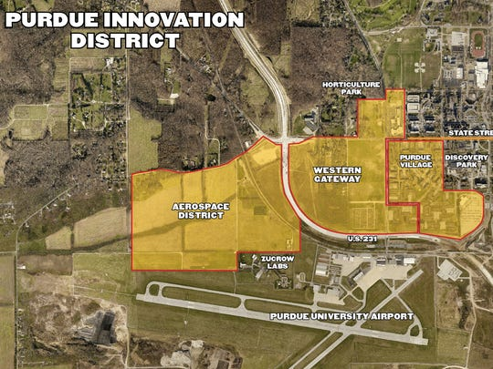 This aerial photo shows the outline of a project Purdue is dubbing its Innovation District. It will combine space for housing, retail and industry on the western edge of campus, near the Purdue Airport.