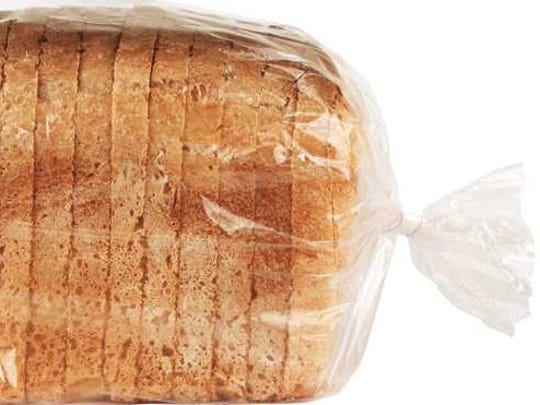 A loaf of bread in cellophane.