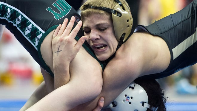 Biglerville's Blake Showers, right, wrestles Trinity's Patrick Demark during the 106-pound championship match at Hershey's Giant Center for the District 3 tournament, Saturday, Feb. 24, 2018. Demark won the title, 9-2.