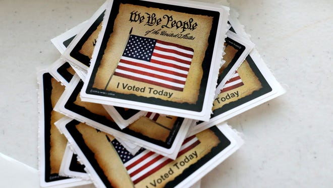 'I voted' stickers are given out to voters in Rutherford County during election season.