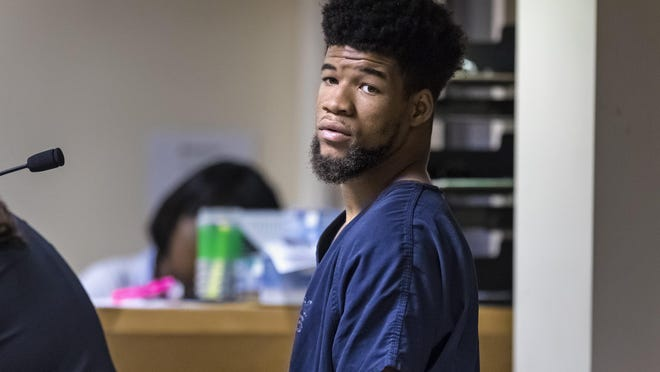 Brice Simeon Daniels, 20, stands in a West Palm Beach courtroom during a first-appearance hearing on Sunday, Jan, 12, 2020,