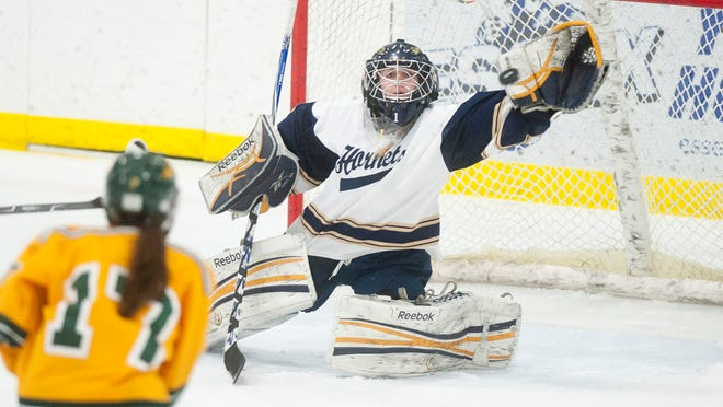 Essex goalie Victoria Gibson, center, attempts to make a save during the third period against BFA-St. Albans on Saturday.
