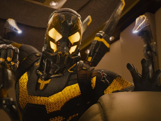 """Ant-Man (Paul Rudd), right, takes on Yellowjacket (Corey Stoll), a much larger foe, in """"Ant-Man."""""""