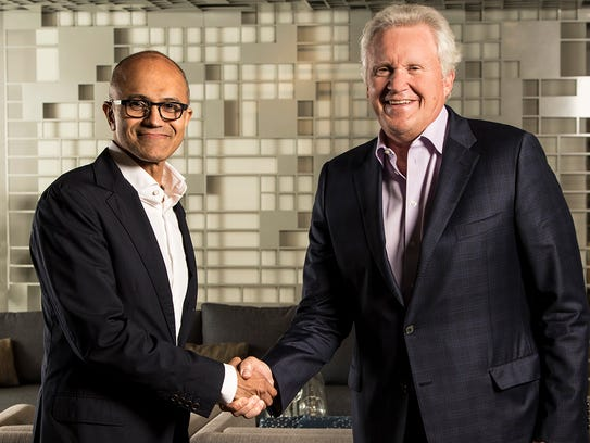 Microsoft CEO Satya Nadella, at left, with Jeff Immelt,