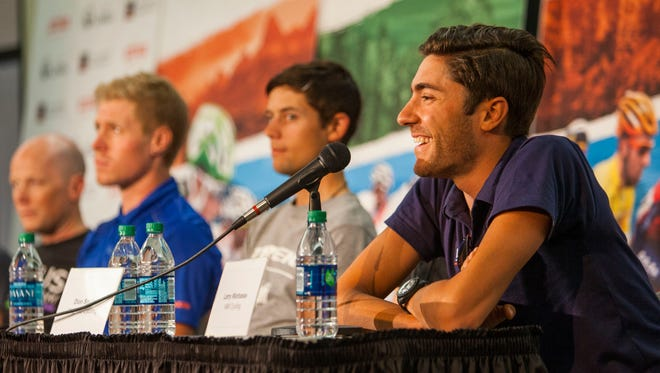 Larry Warbasse of IAM Cycling responds to a question during the Tour of Utah's 2016 Roll Out Press Conference at Southern Utah University, Sunday July 31.