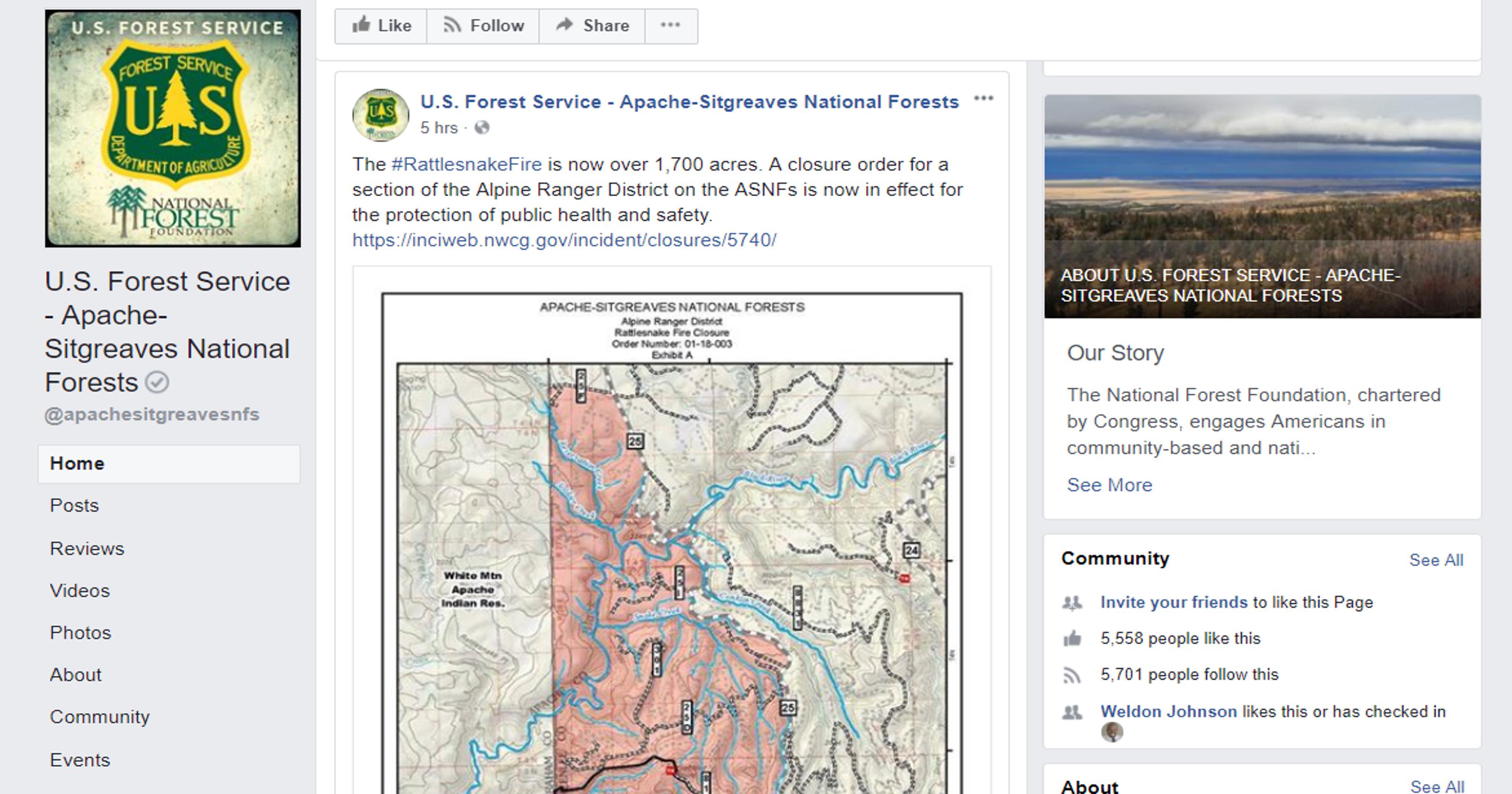 Map Of Eastern Arizona.Rattlesnake Fire Grows To 1 700 Acres In Eastern Arizona