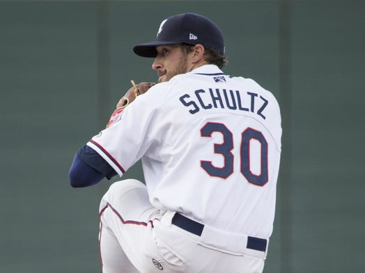 The Aces' Bo Schultz pitches against Nevada during their exhibition baseball game on Tuesday, April 1, 2014, at Aces Ballpark.