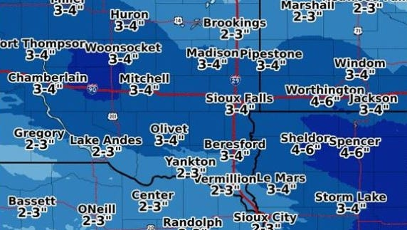 The National Weather Service says Sioux Falls could receive 3-4 inches of snow on Thursday night.
