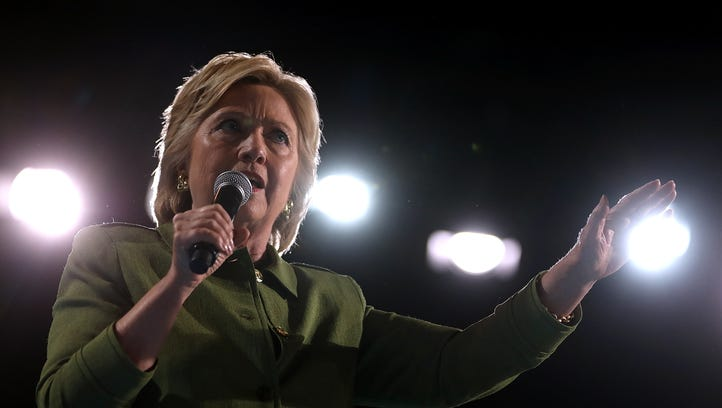 Hillary Clinton speaks during a campaign rally on July