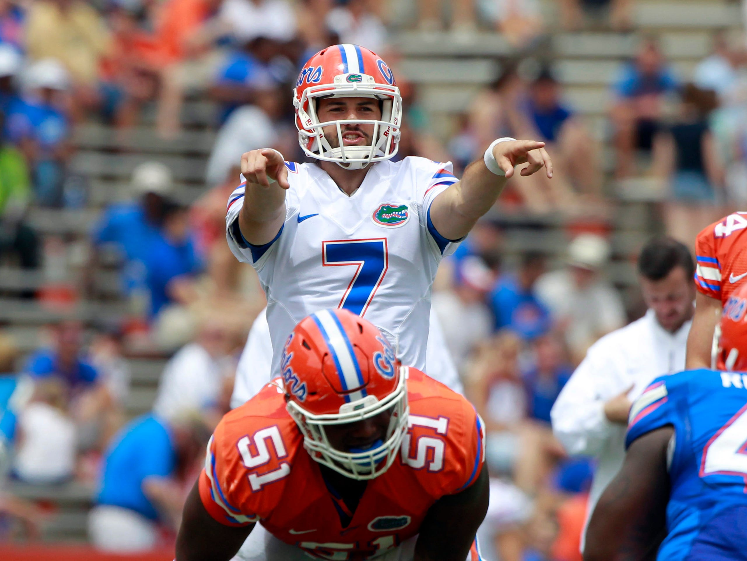 Florida Gators quarterback Will Grier (7) is in the running to be the team's starter this fall.