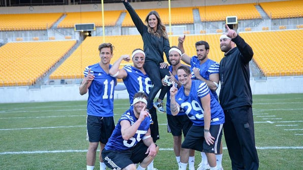Jordan Rodgers (left) played quarterback as two teams faced off in a group date challenge at Pittsburgh's Heinz Field. The winners won a date with JoJo Fletcher. Steelers quarterback Ben Roethlisberger (right) and former players Hines Ward and Brett Keisel were on hand to lend their expertise.