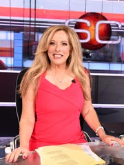 Linda Cohn on the set of SportsCenter in 2017.