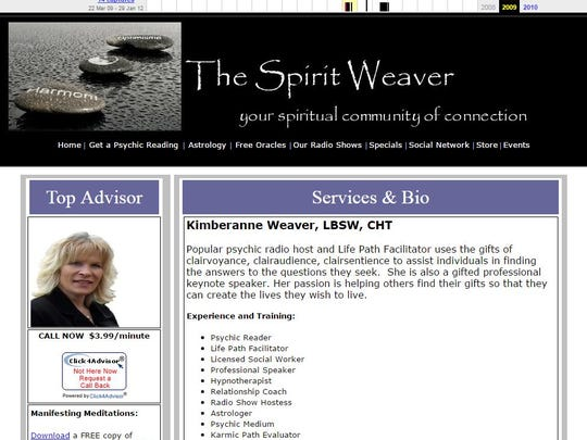 """An archived version of """"The Spirit Weaver"""" website shows congressional candidate Kim Weaver advertising her services as a psychic and astrologer."""