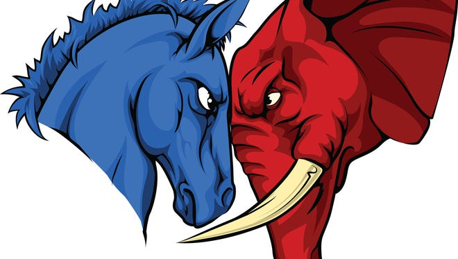 A blue donkey and red elephant facing off.