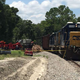 One person was injured when a CSX train hit a truck