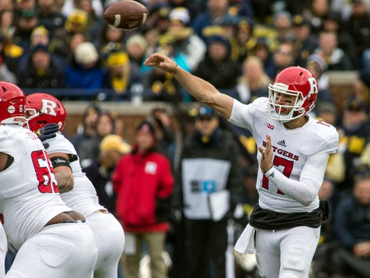 Rutgers quarterback Giovanni Rescigno (17) throws a pass in the fourth quarter of an NCAA college football game against Michigan in Ann Arbor, Mich., Saturday, Oct. 28, 2017. Michigan won 35-14. (AP Photo/Tony Ding)