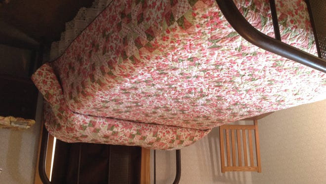 This quilt will be auctioned off in honor of Ruth Snyder Lacey, a Danby resident who passed away two years ago, with the proceeds going to benefit the Tompkins County SPCA.