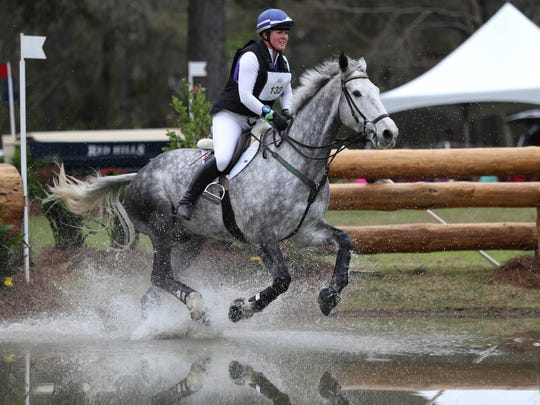 Jane Stephenson rides her horse Cruising Arkansas during the cross country portion of the Red Hills Horse Trials on the 20th anniversary of the Tallahassee event on Saturday, March 10, 2018.