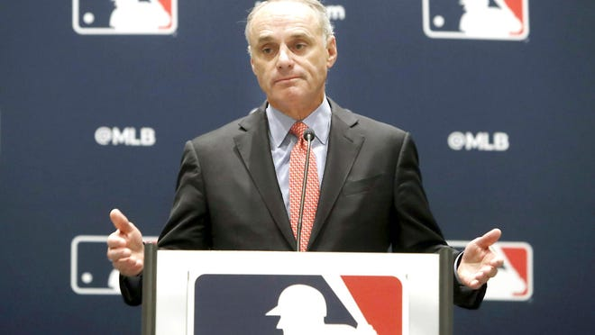 Baseball commissioner Rob Manfred speaks to the media Nov. 21, 2019, at the owners meeting in Arlington, Texas.
