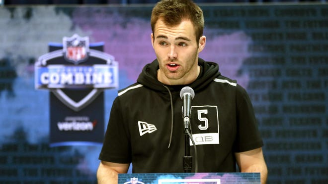 "Georgia quarterback Jake Fromm speaks during a Feb. 25 press conference at the NFL scouting combine in Indianapolis. Later drafted by the Buffalo Bills, Fromm apologized on his Twitter account for using the phrase ""elite white people"" in a text conversation from more than a year ago and posted on social media early Thursday morning. The rookie wrote: ""I'm truly sorry for my words and actions and humbly ask for forgiveness."""