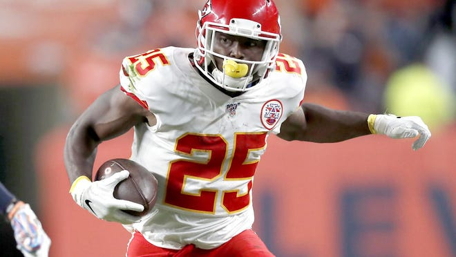 In this Oct. 17, 2019, file photo, running back LeSean McCoy carries the ball for the Kansas City Chiefs during the first half of a game against the Denver Broncos in Denver.