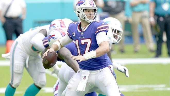 Buffalo Bills quarterback Josh Allen looks to pass during Sunday's game against the Miami Dolphins in Miami Gardens, Florida.