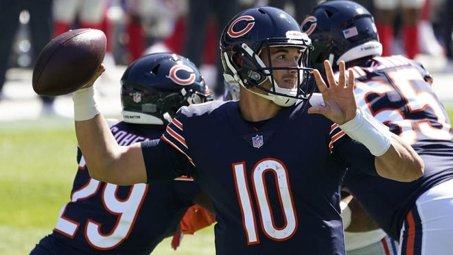 Chicago Bears quarterback Mitchell Trubisky (10) ranks 28th in the league in pass completions.