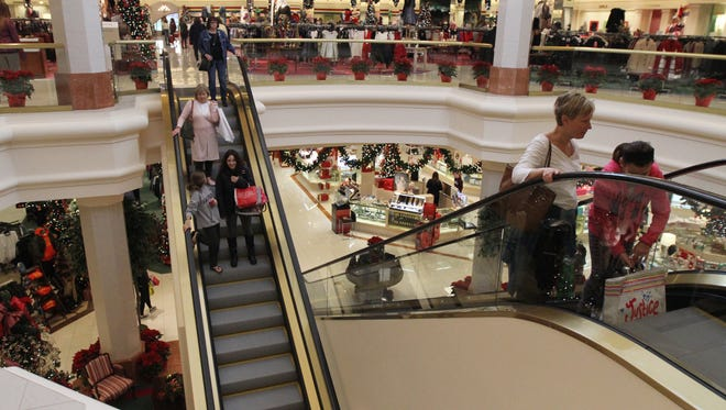 Holiday shoppers at a mall.