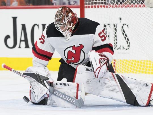 New Jersey Devils goaltender Ken Appleby (55) makes