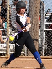 Lake View's Elizabeth Lewis connects for a hit against Lubbock Coronado in District 4-5A softball action Tuesday, March 21, at Maidens Field in San Angelo.