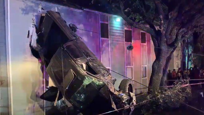 One person was taken to the hospital with life-threatening injuries after a truck they were traveling in went off the road and crashed into an apartment building on Sunday, according to Austin Fire Department officials.