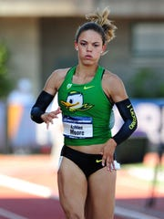 Oregon freshman Ashlee Moore runs the 200 meter dash while competing in the heptathlon during the NCAA Women's Division I 2015 Outdoor Track & Field Championships at Hayward Field, on Wednesday, June 10, 2015, in Eugne, Ore.