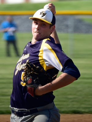 Eastern York's Colby Shimmel pitches during the Greencastle-Antrim game. Eastern York battled Greencatle-Antrim in the D-3 Class AAA first-round playoff game on Tuesday, May 24, 2016.
