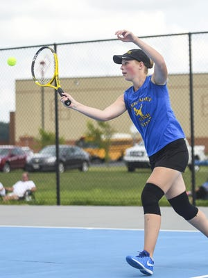 River Valley's Allison Edwards returns a serve during her singles match against Clear Fork last year. Edwards will need to be replaced at first singles for the Vikings girls tennis team.