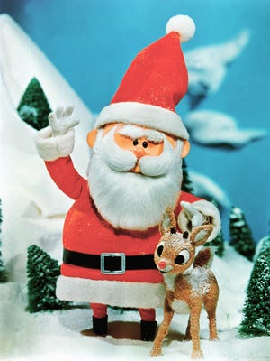 Santa with Rudolph in the 1964 classic tale.