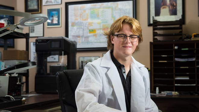 Southeast High School junior Austin Hinkle is working with Micro-gRx, a company that manufactures clear polymer chips used in cell tests aboard the International Space Station. A chip Hinkle created was launched into space on Oct. 3, 2020.