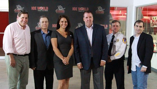 (Left to right: Rob Lavin, Bruno Bragagnolo, Mayor Stephanie C. Murray, George Haviland...