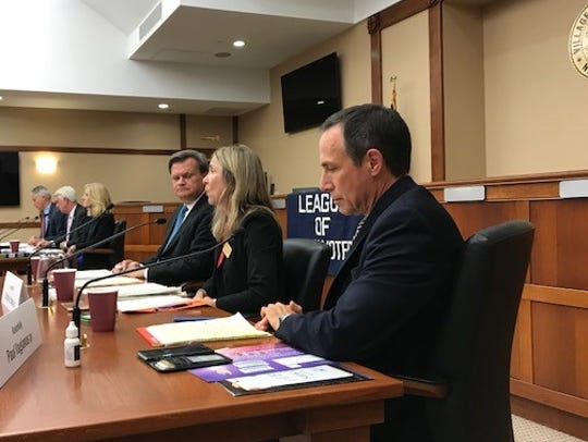 40th Legislative District candidates (left to right): Thomas Duch, Christine Ordway and Paul Vagianos, discuss their platforms and policy at the 2017 League of Women Voters forum Monday night in Ridgewood.