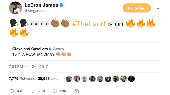 LeBron James and J.R. Smith are pumped up about the Cleveland Indians' win streak