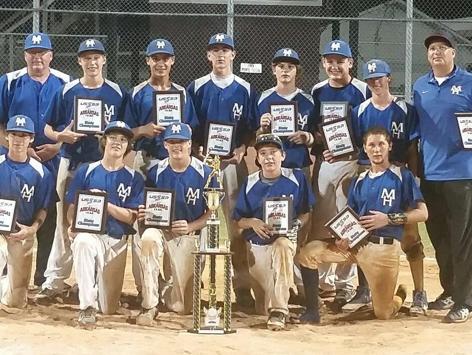 The Mountain Home 14-year-old Bomb Squad recently won the USSSA State Tournament in Benton. The three-day tournament featured 21 teams, and the Bomb Squad went 6-1, advancing to the championship bracket and defeating the Fayetteville Kingfish 13-9 in the final. Team members are: first row, from left, Bryson Theil, Mason Patno, Sam Arp, Colton Peters, Austin Helms; second row, assistant coach Randy Mize, Jacob Horton, Jordan Anderson, Bam Dowden, Hunter Schad, Trace Rick, Austin Mize and manager Eric Arp.